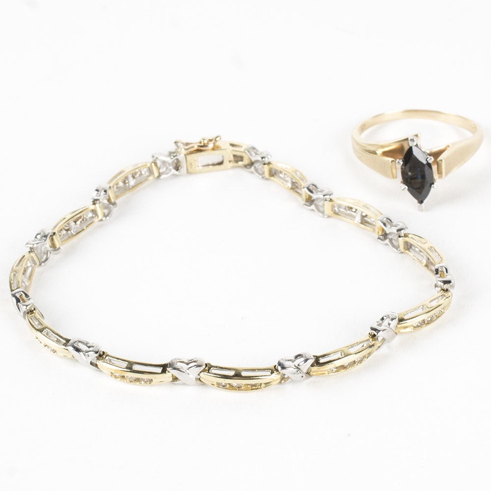 10K Yellow Gold Sapphire Ring and Diamond Bracelet