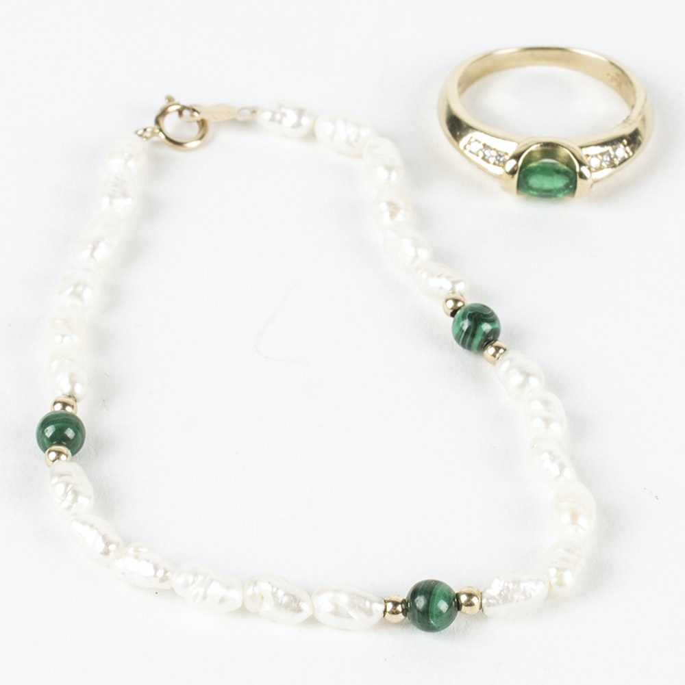 14K Yellow Gold Diamond and Emerald Ring with Pearl and Malachite Bracelet