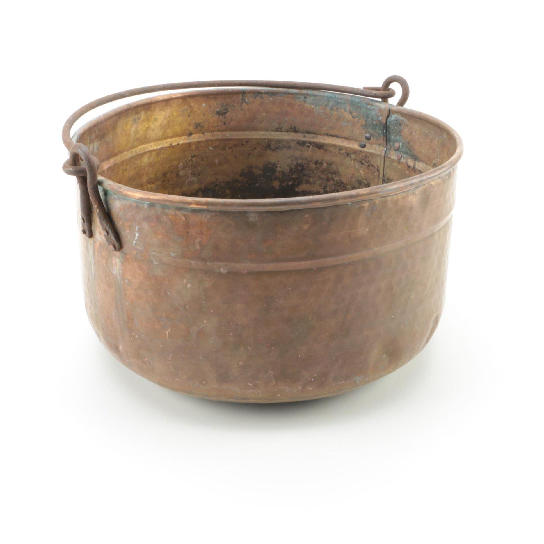 Large Hammered Copper Cauldron