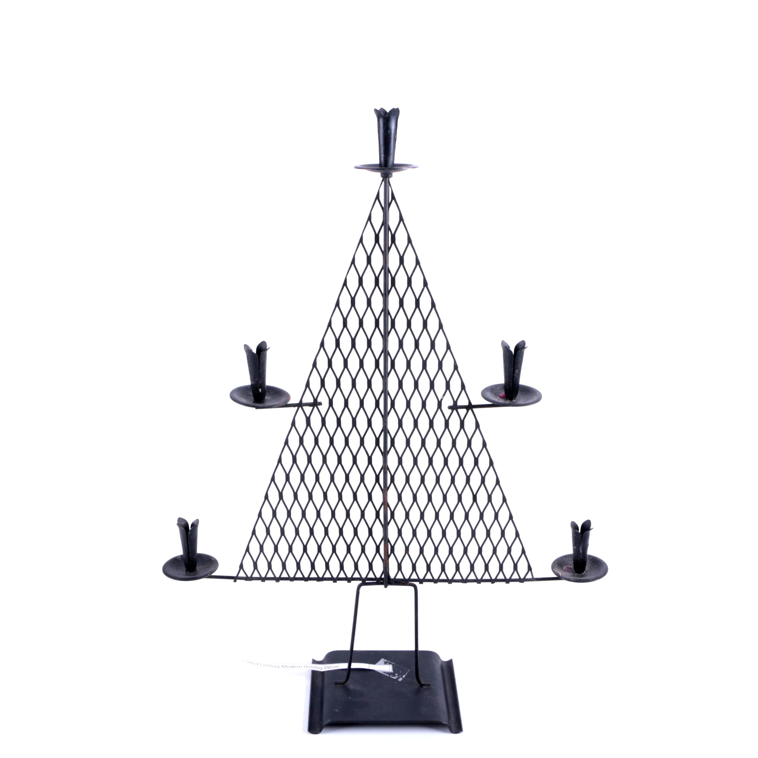 Metal Tree-Shaped Holiday Candle Holder
