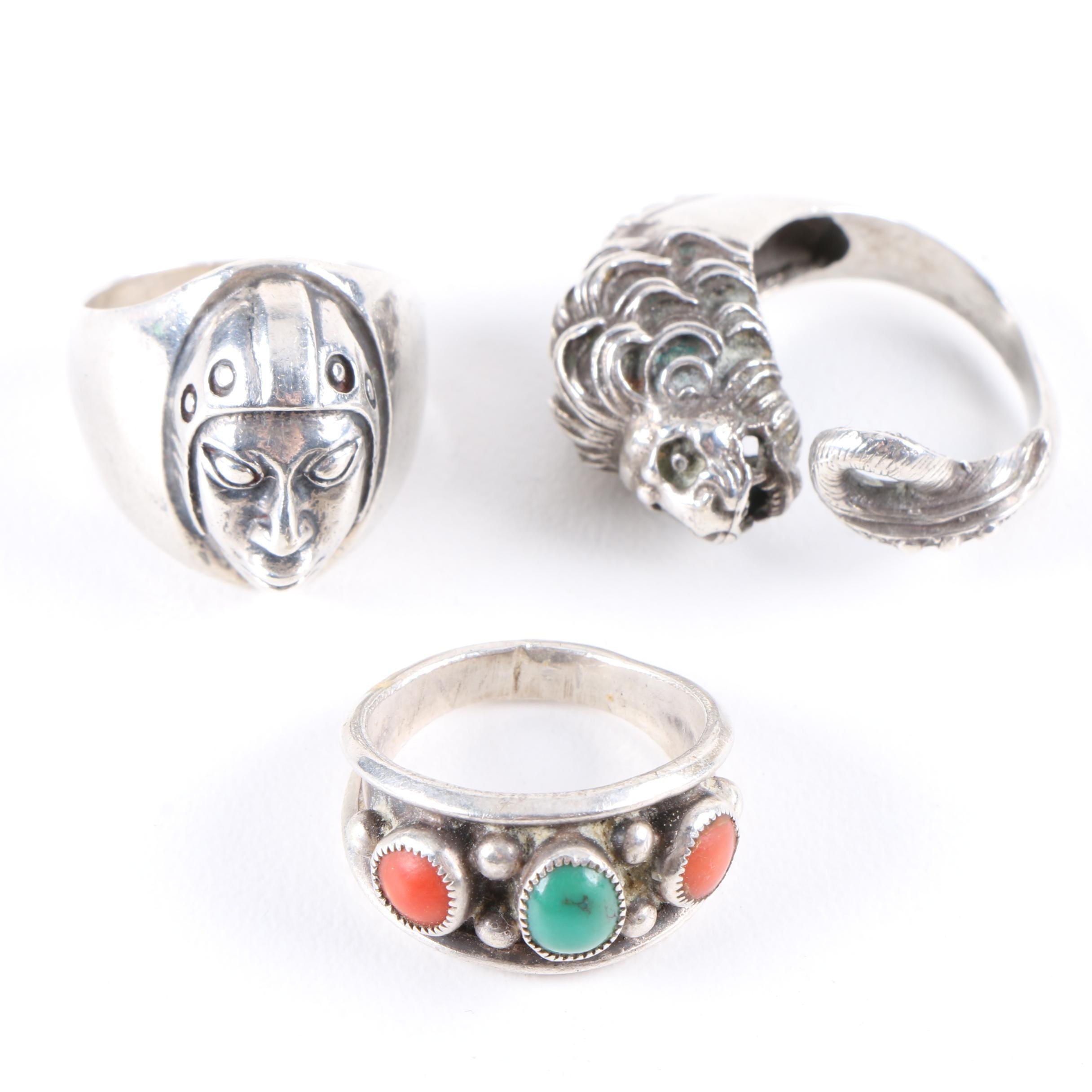 Sterling Silver Ring Selection Including Turquoise and Coral