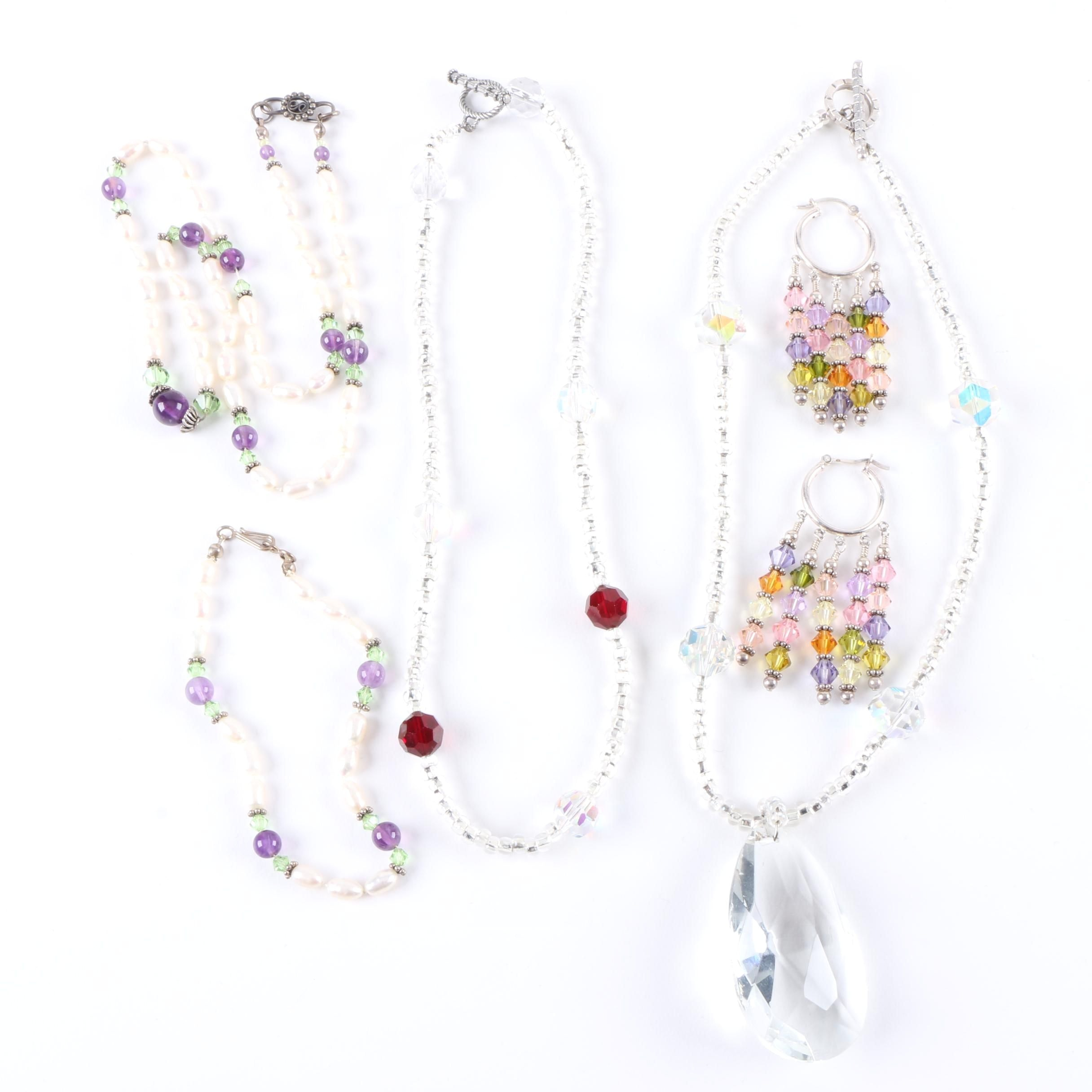 Sterling Silver Jewelry Including a Costume Necklace