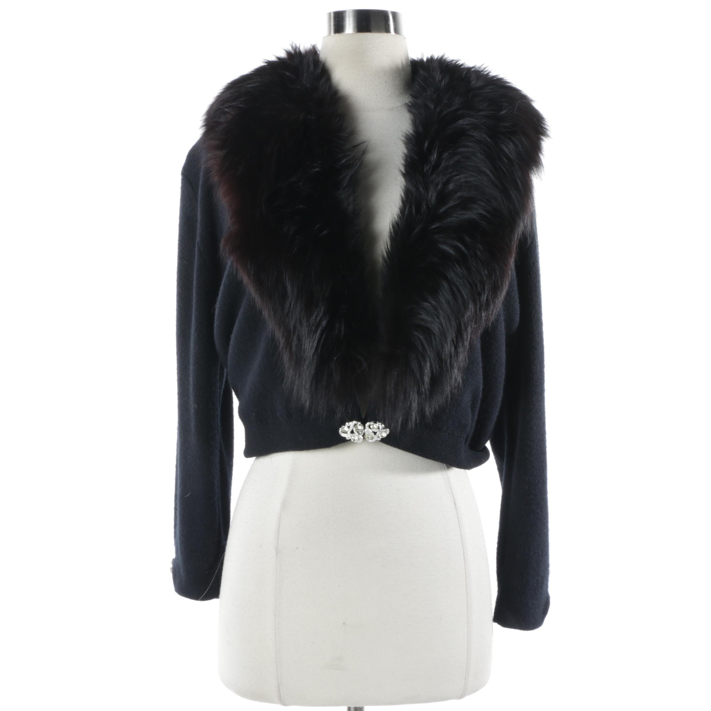 Vintage Black Knit Sweater with Black Fox Fur Collar