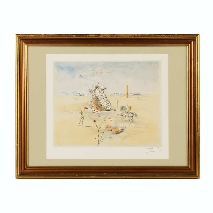 Limited Edition Offset Lithograph After Salvador Dalí Cosmic Horseman