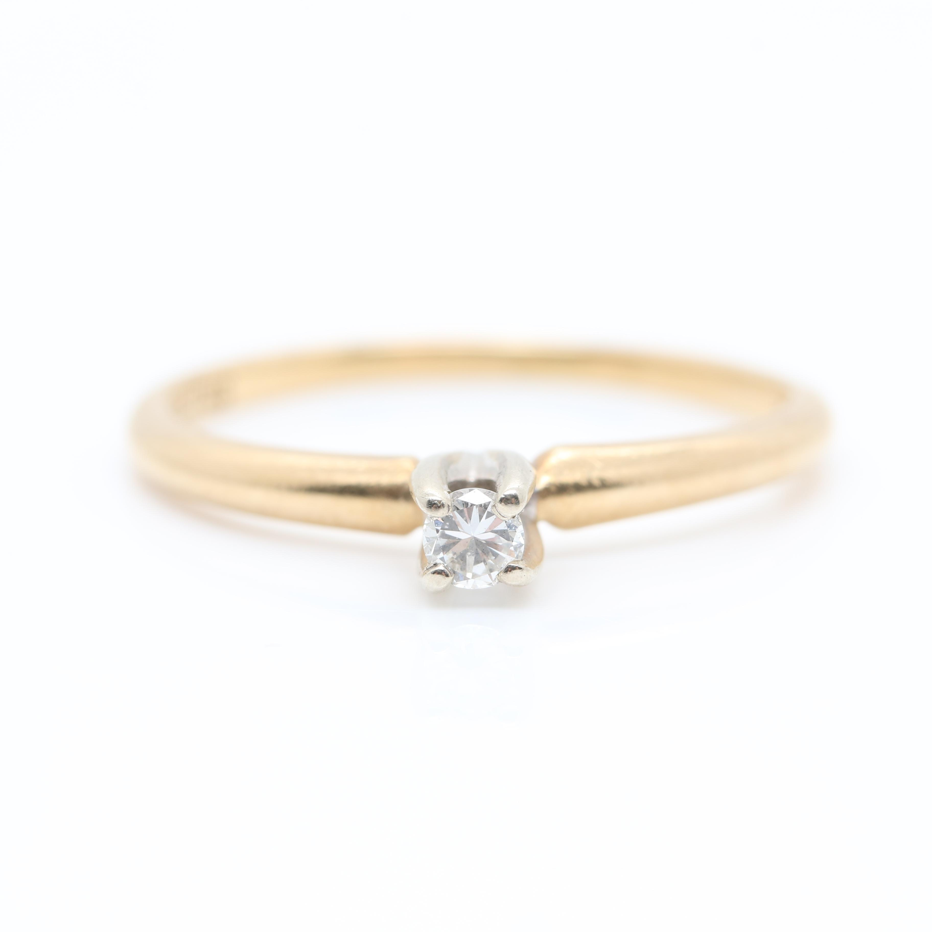 14K Yellow Gold Solitaire Ring with White Gold Accents