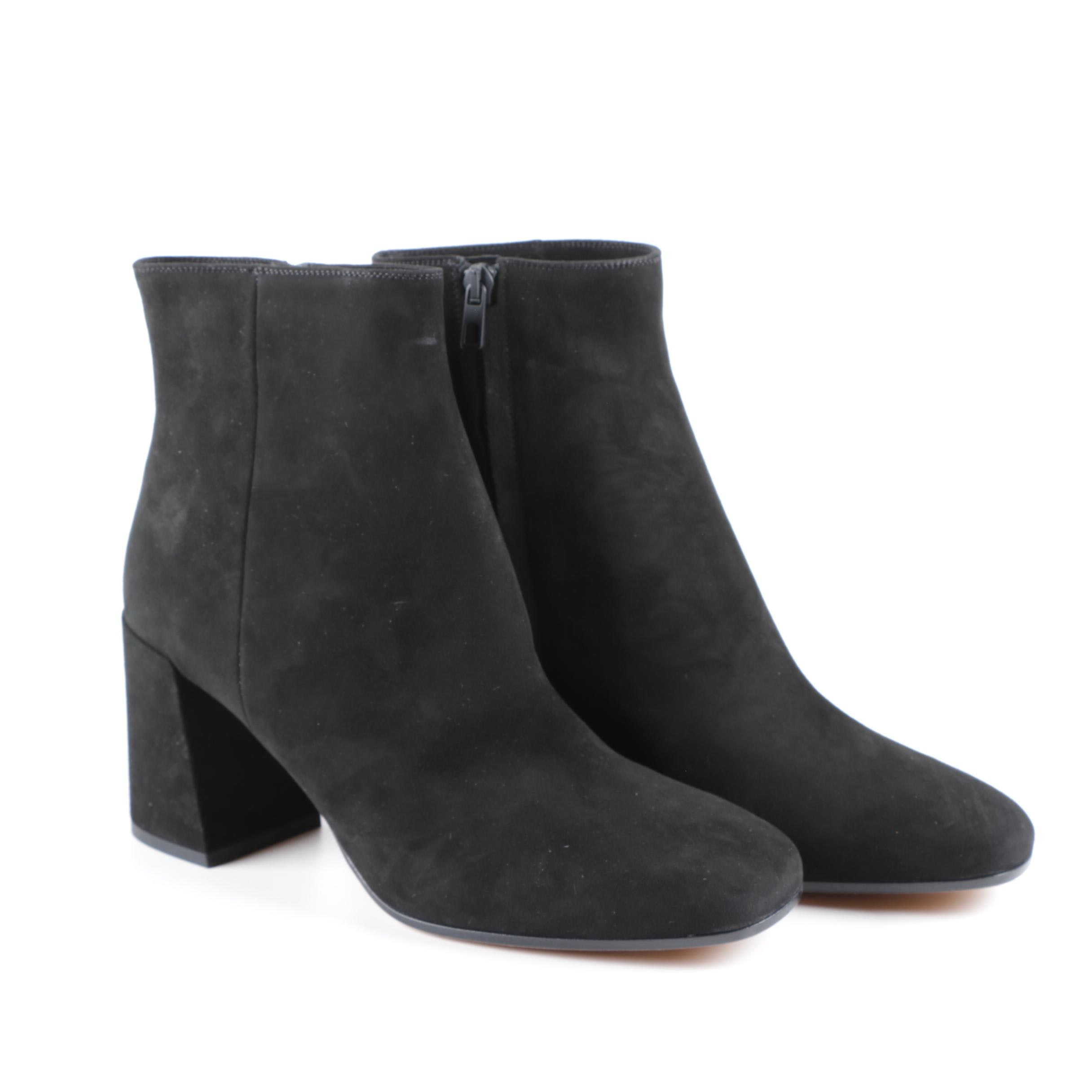 Women's Vince Black Suede Block Heeled Ankle Boots, Made in Italy