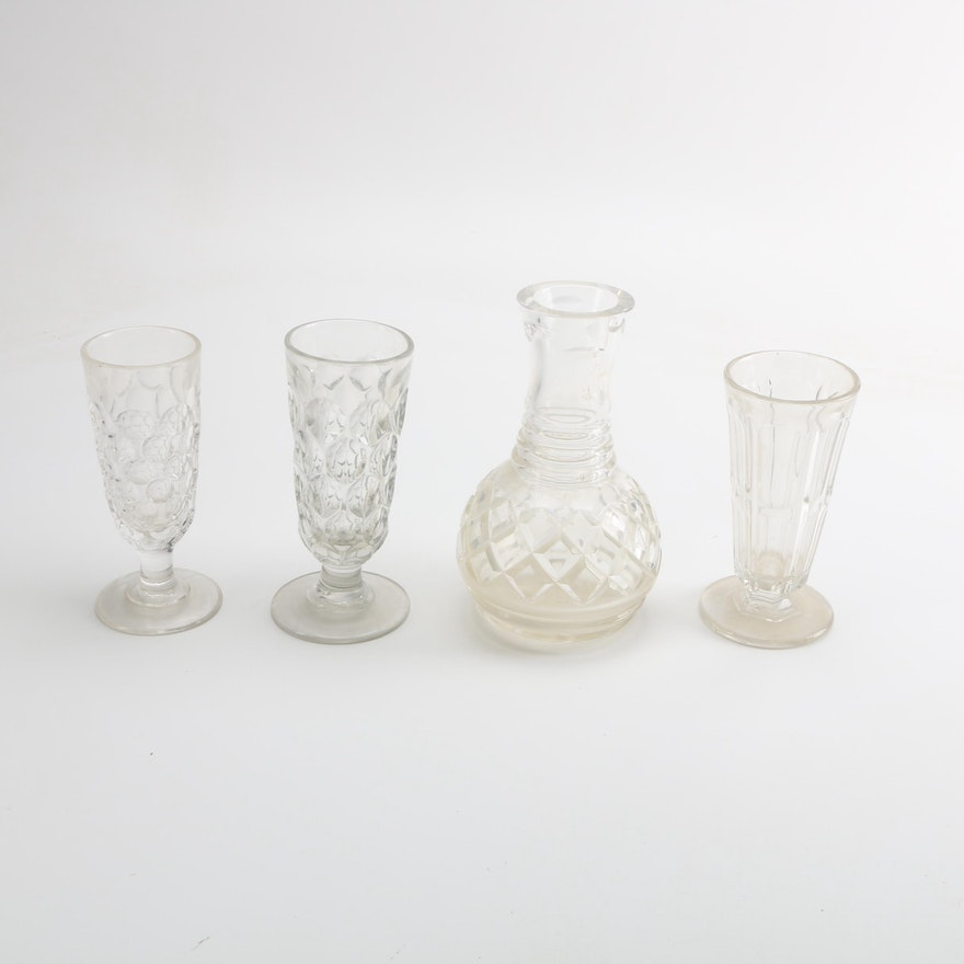 Vintage Pressed Glass Vases And A Cut Crystal Carafe Ebth