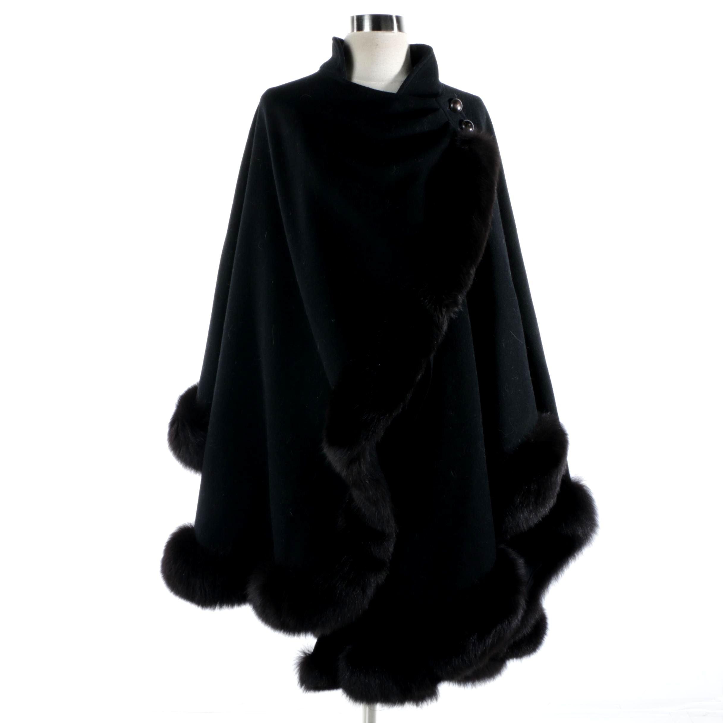 Women's Black Wool Cape With Fox Fur Trim
