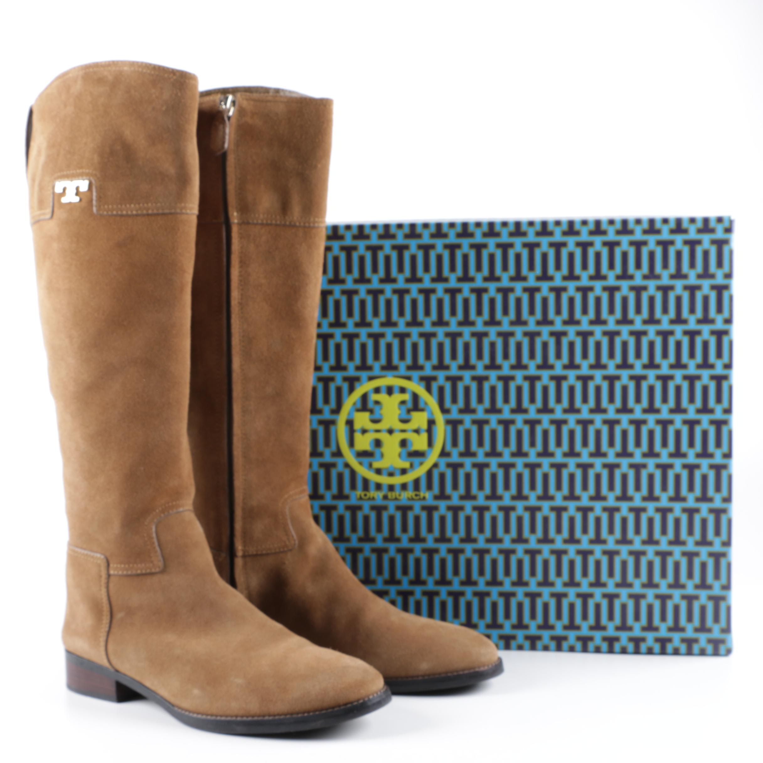 Tory Burch Selden Tan Suede Riding Boots