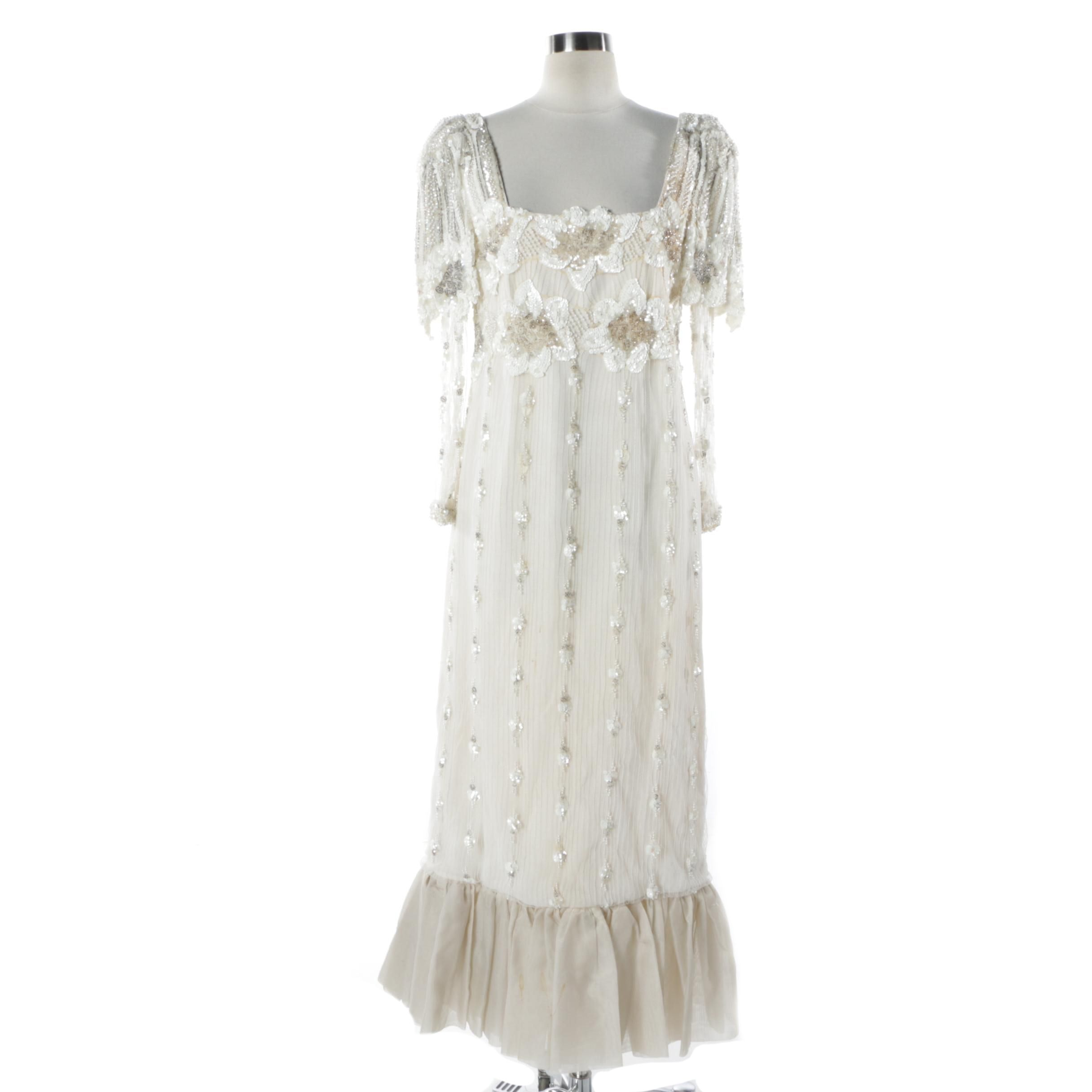 Vintage Handmade Sequined and Beaded Dress