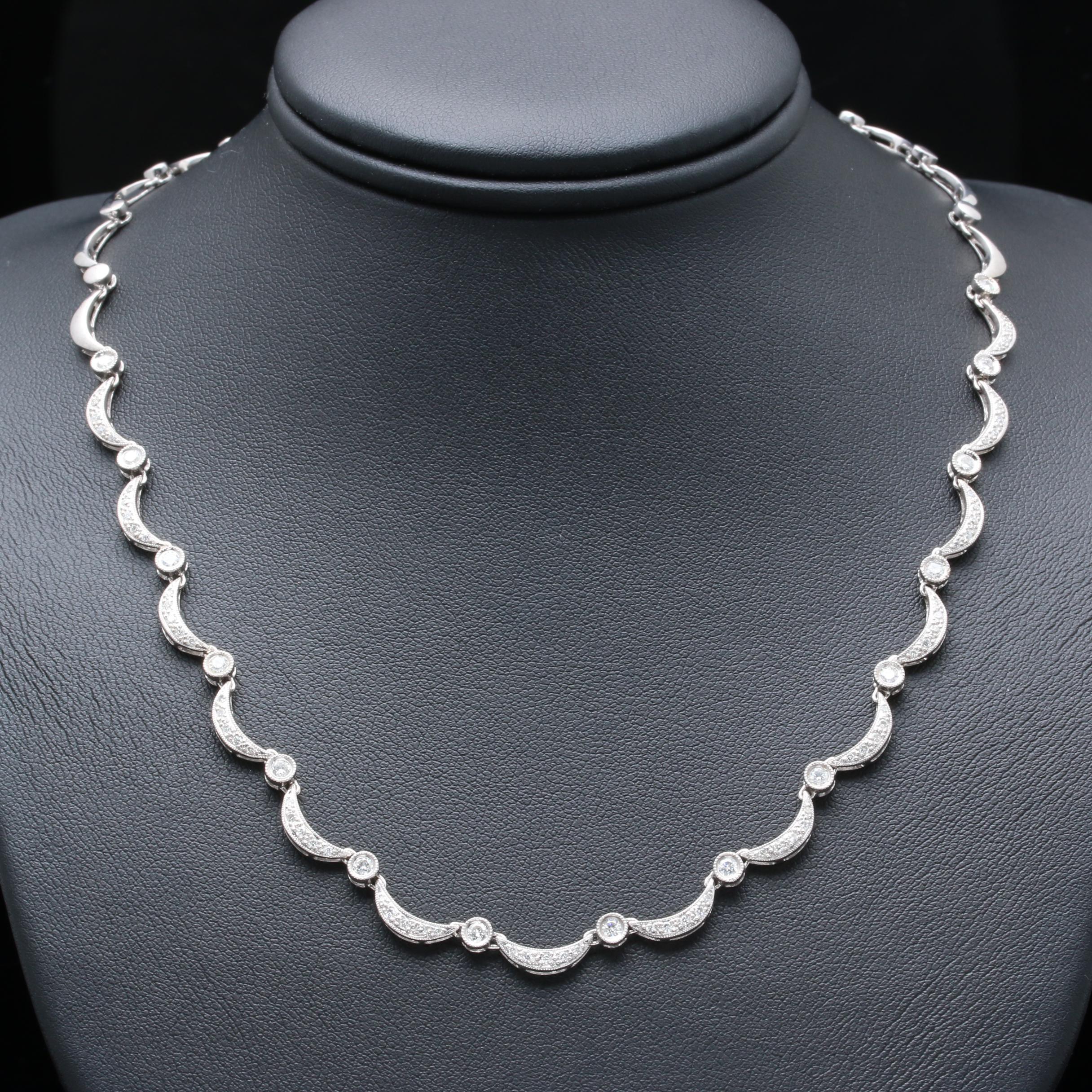14K White Gold 1.10 CTW Diamond Scalloped Necklace