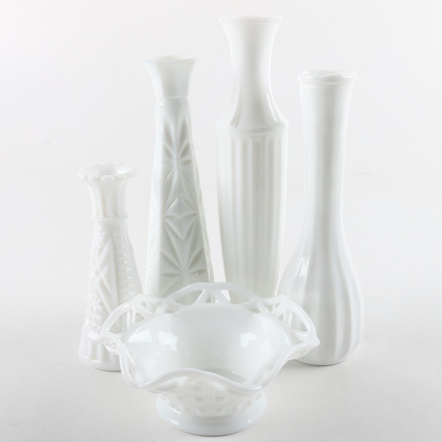Vintage Milk Glass Vases And Candy Dish Ebth