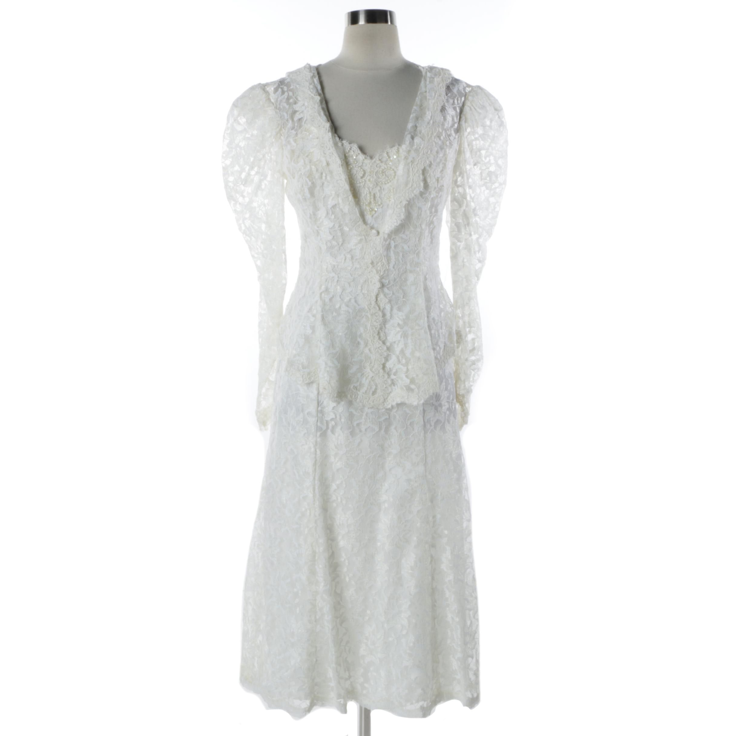 Vintage White Lace Slip Dress and Lace Hooded Jacket