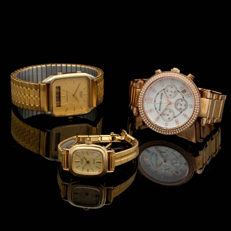 Seiko, Citizen, and Michael Kors Gold Tone Wristwatches