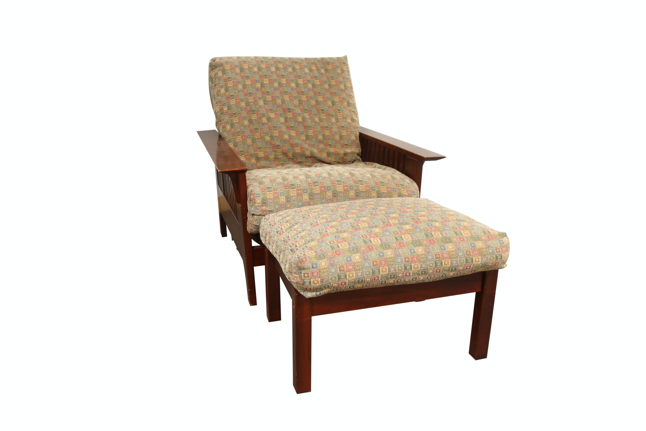 Mission Style Lounge Chair/Futon and Ottoman