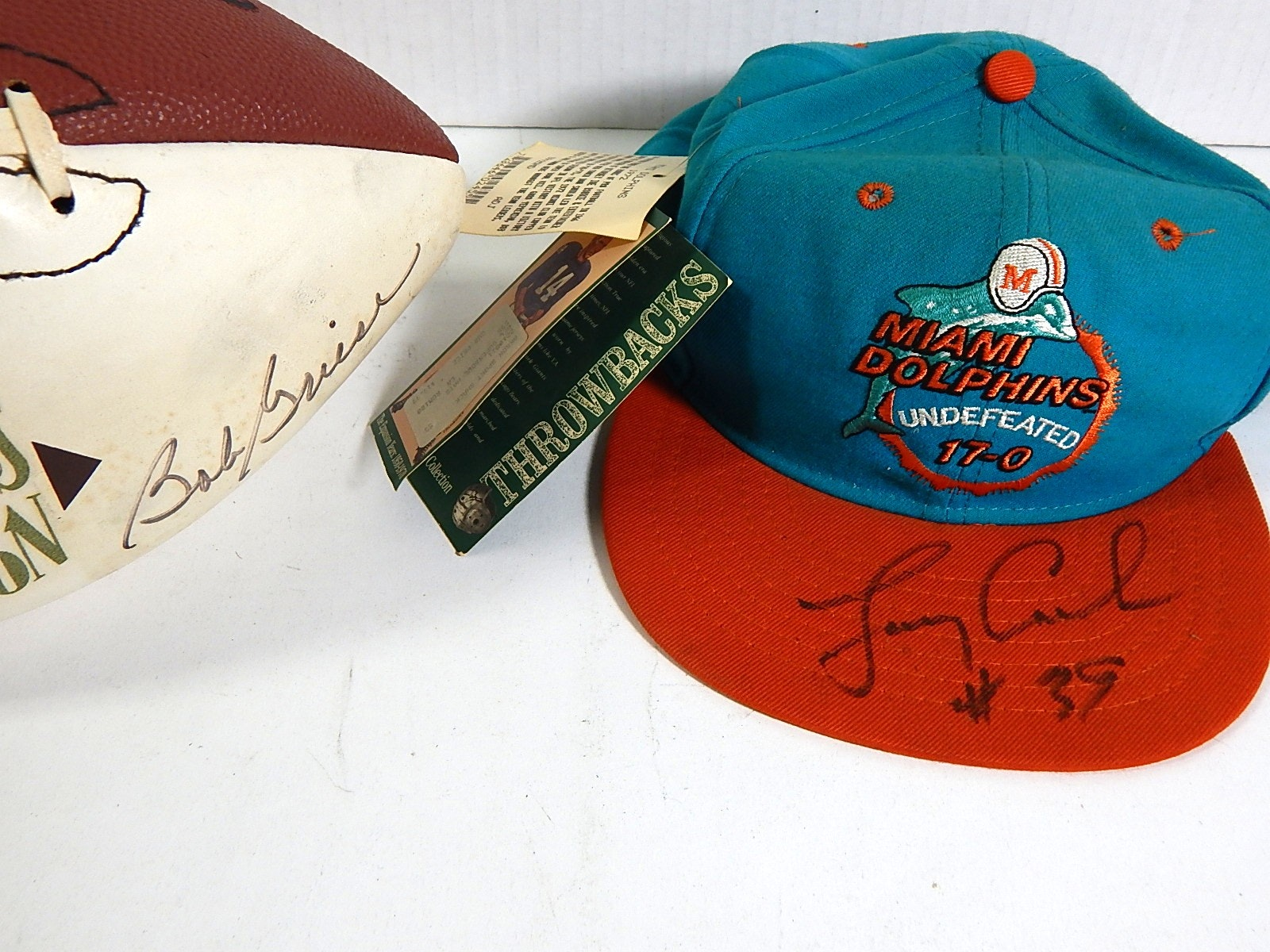 NFL Bob Griese Autographed Football and Larry Csonka Autographed Cap