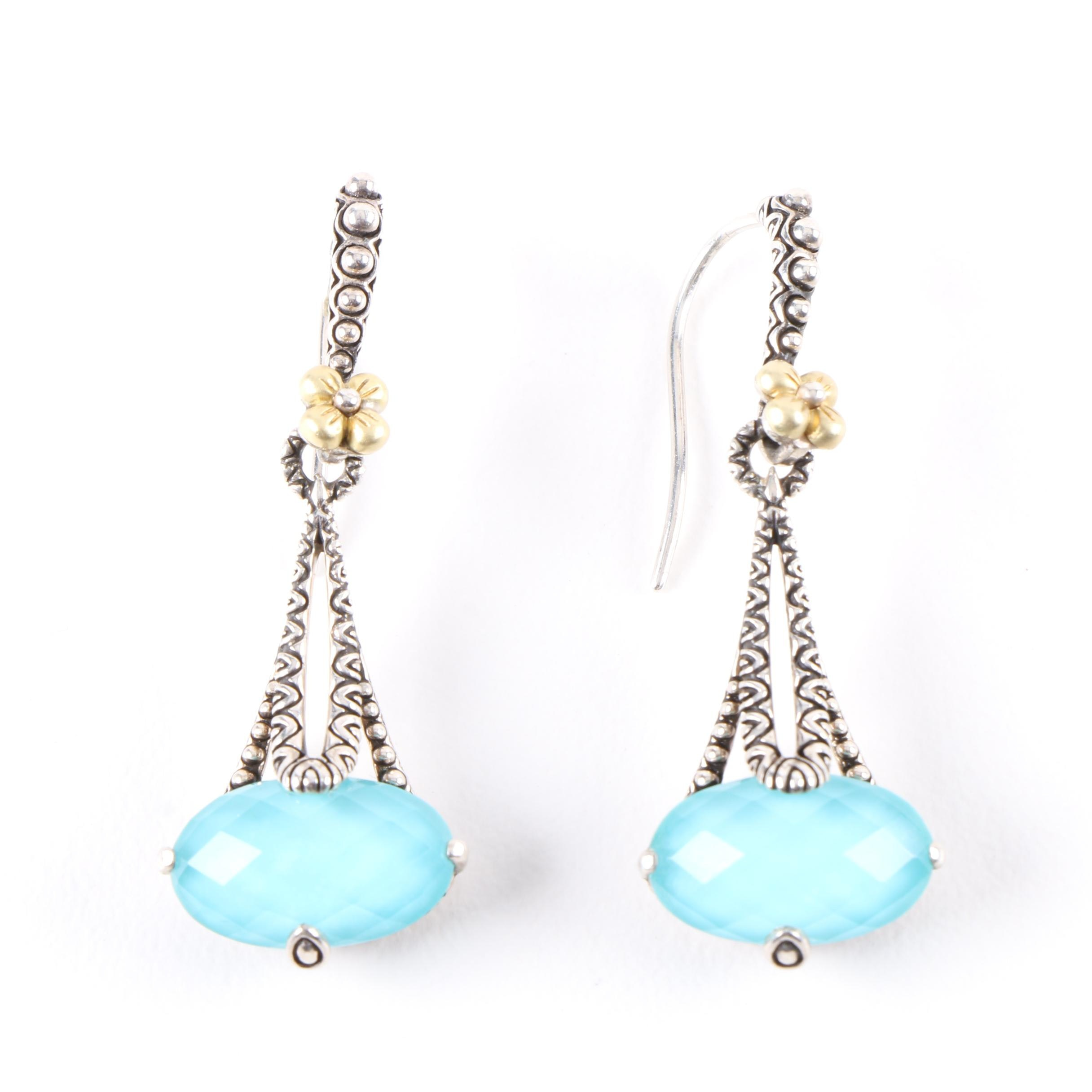 Bizby Sterling Silver and 18K Yellow Gold Turquoise and Quartz Hook Earrings