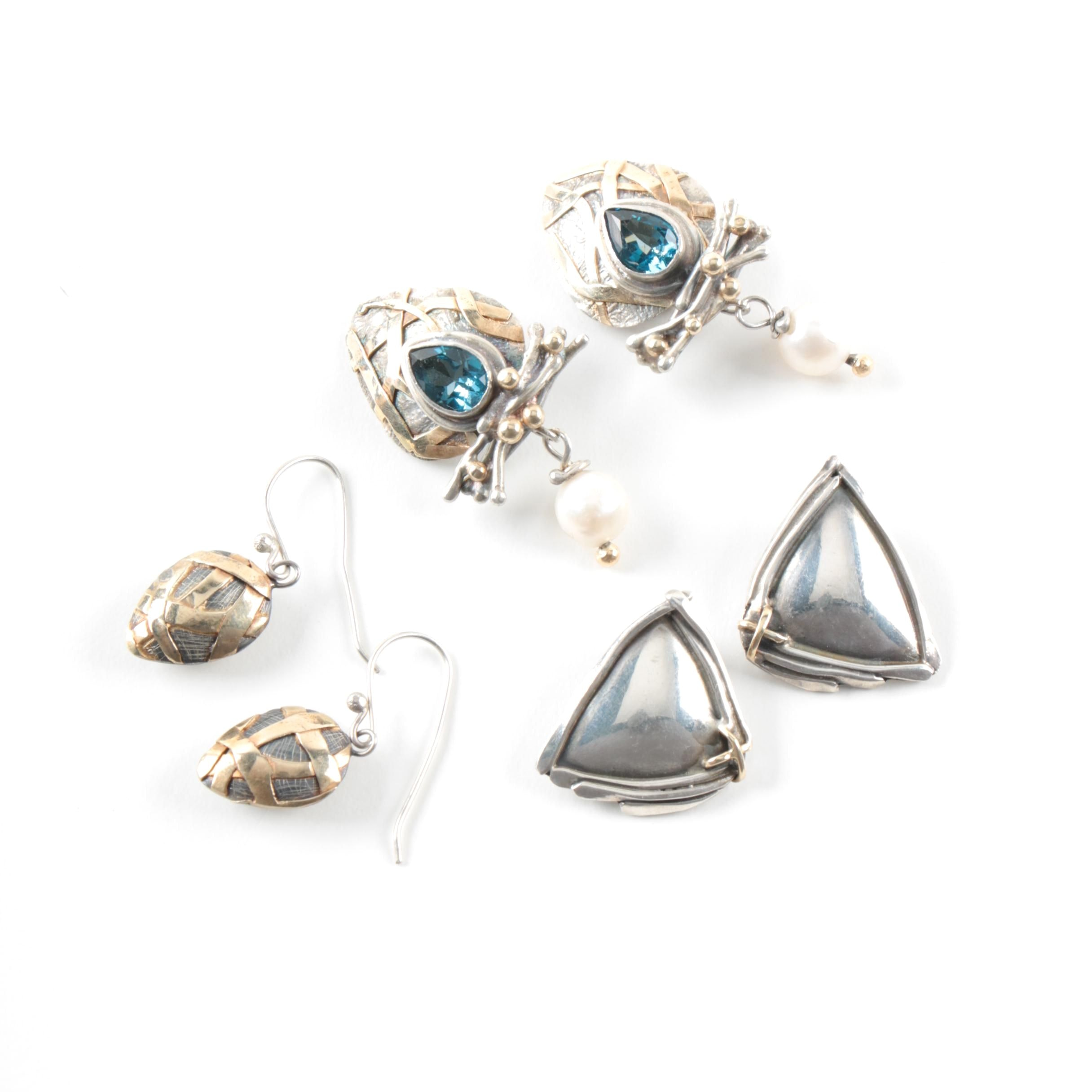 Sterling Silver Earrings Featuring Cultured Pearl and London Blue Topaz
