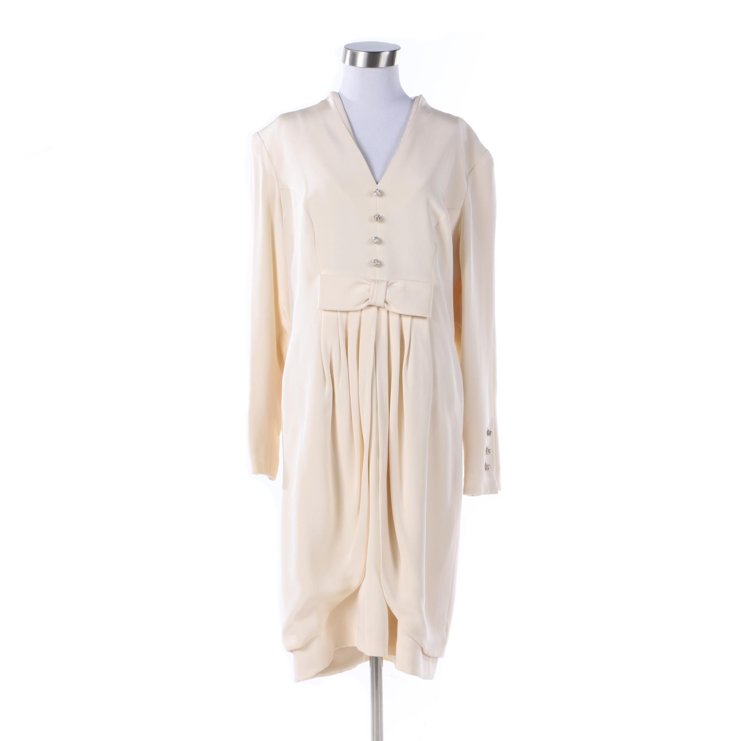 Vintage Travilla Cream-Colored Dress with Bow and Rhinestone Buttons