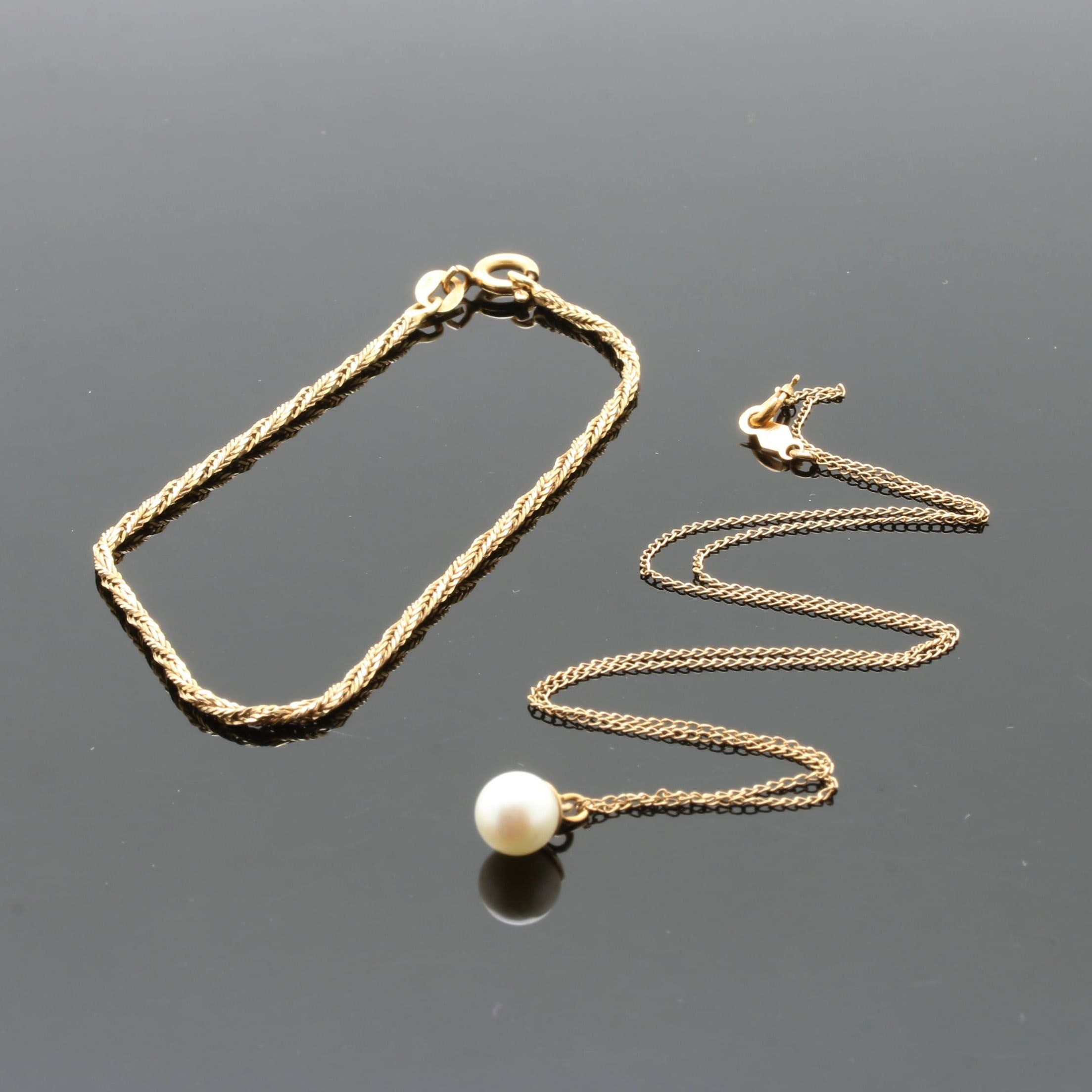 14K Yellow Gold Cultured Pearl Necklace and Rope Chain Bracelet