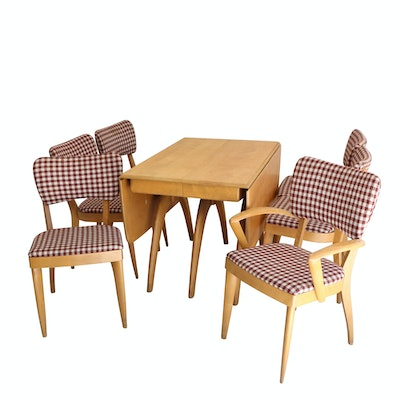 Butterfly Drop Leaf Wishbone Table And Six Chairs By Heywood Wakefield