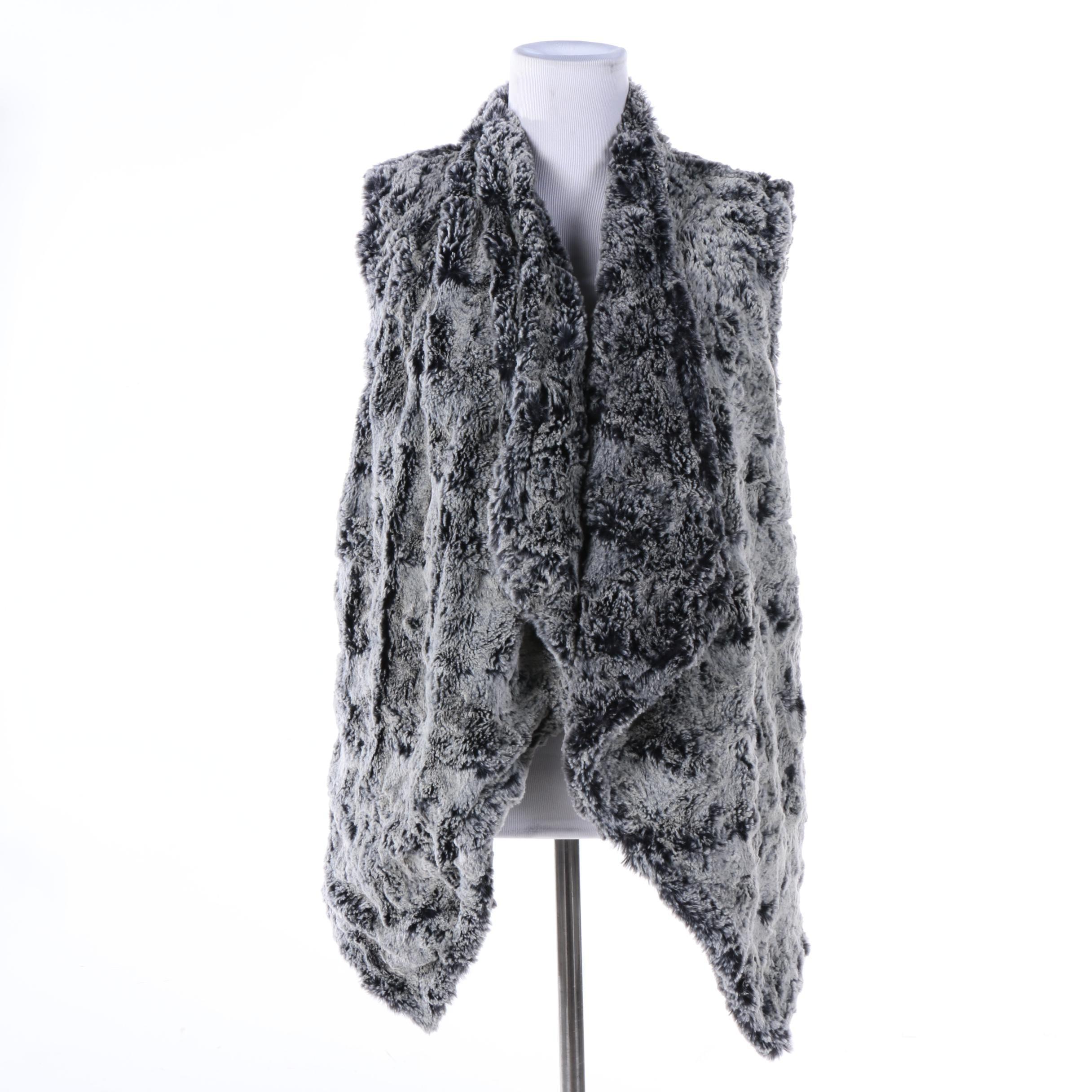 Women's Dylan Frosted Black Faux Fur Open-Front Vest