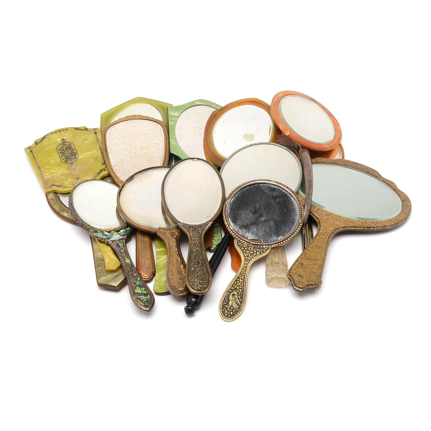 Selection of Mid-Century Hand-Held Vanity Mirrors