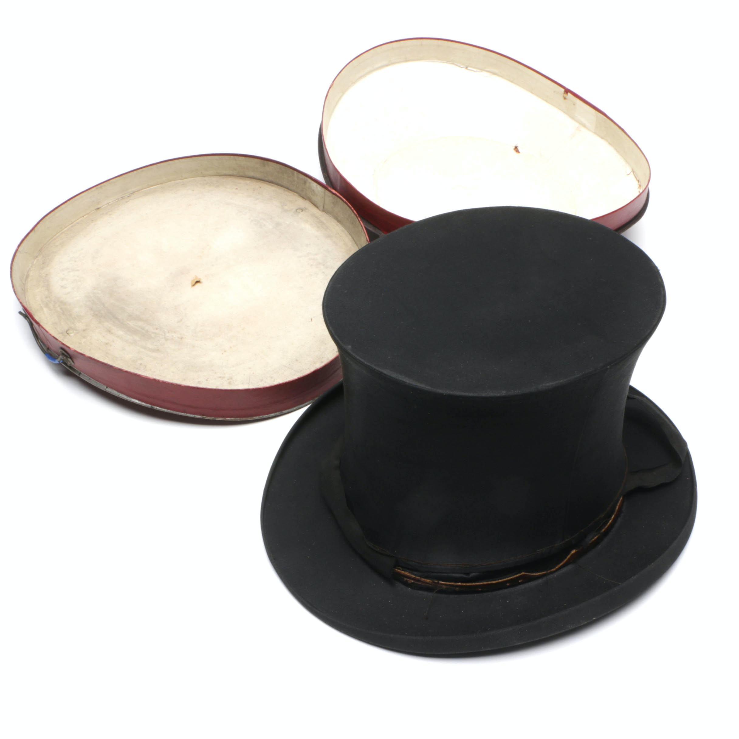 Antique German Collapsible Silk Top Hat and Box