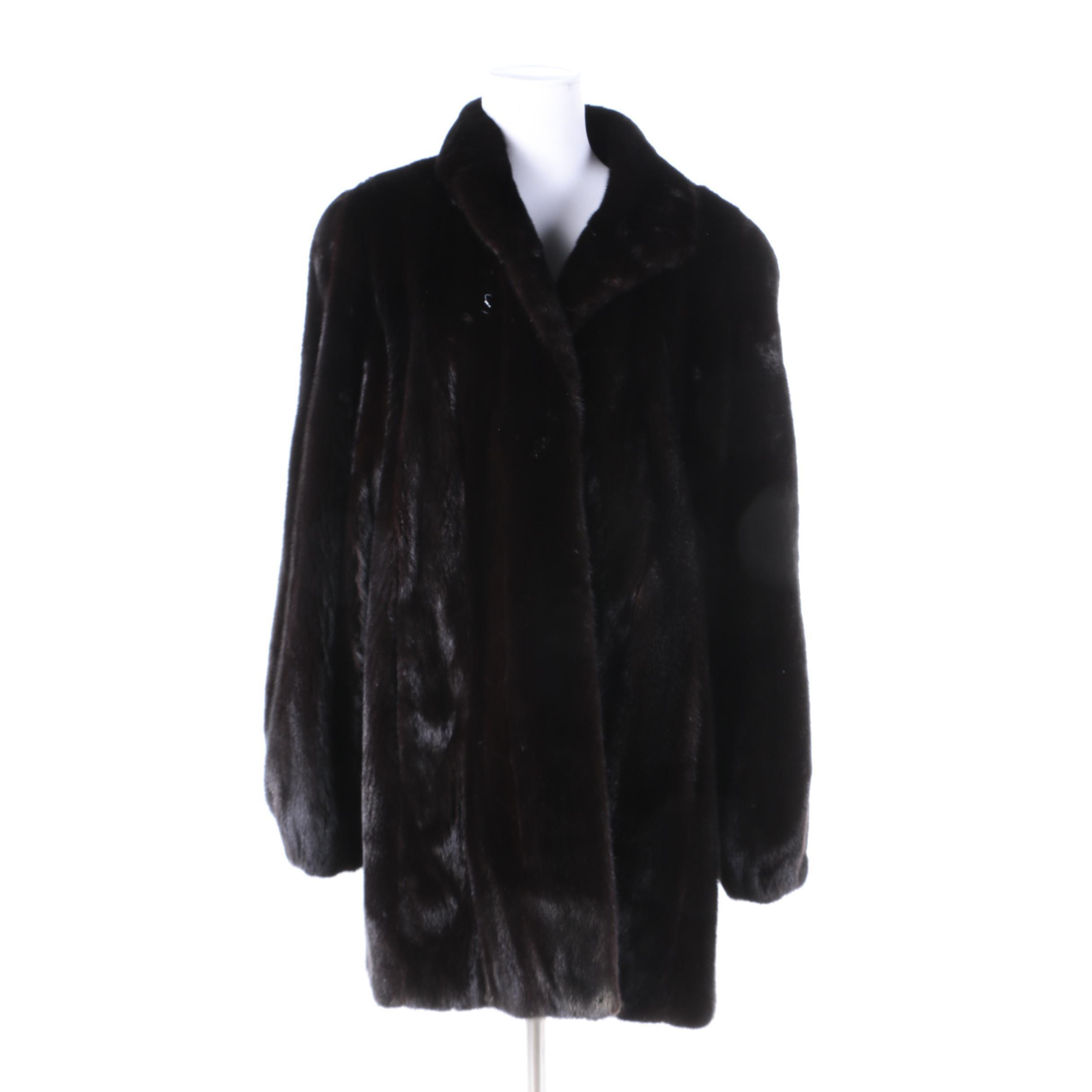 Vintage Black Mink Fur Coat