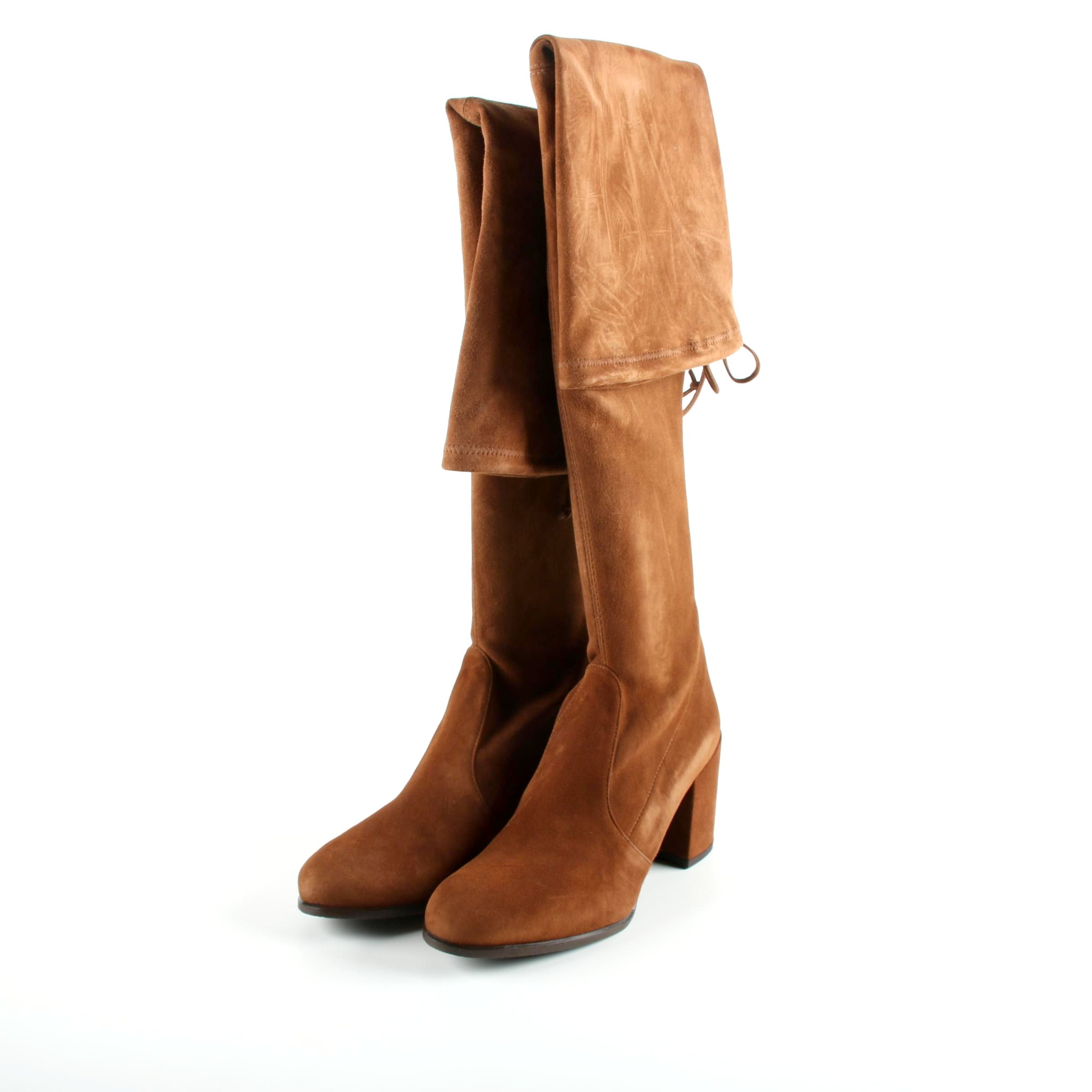 Women's Stuart Weitzman Tieland Walnut Suede Tall Boots