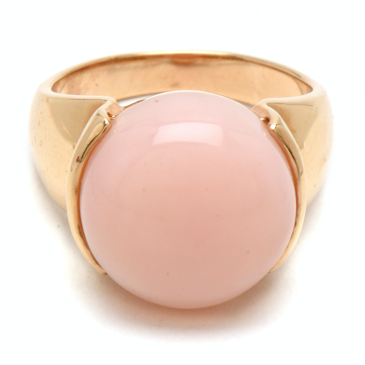 14K Yellow Gold Pink Opal Cocktail Ring