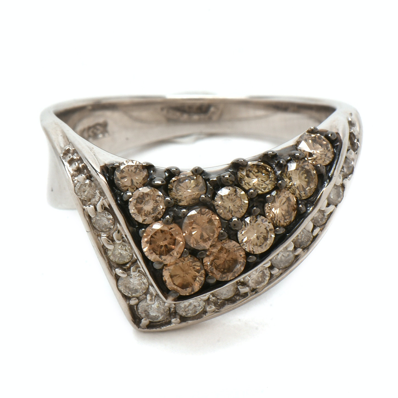 14K White Gold 1.06 CTW Diamond Folded Motif Ring