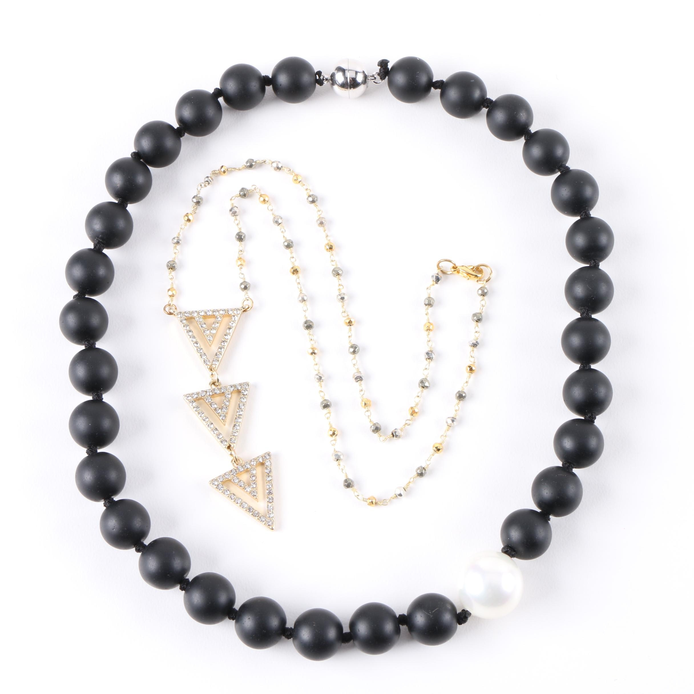 Necklace Assortment Including Imitation Pearl and Black Lava Beads