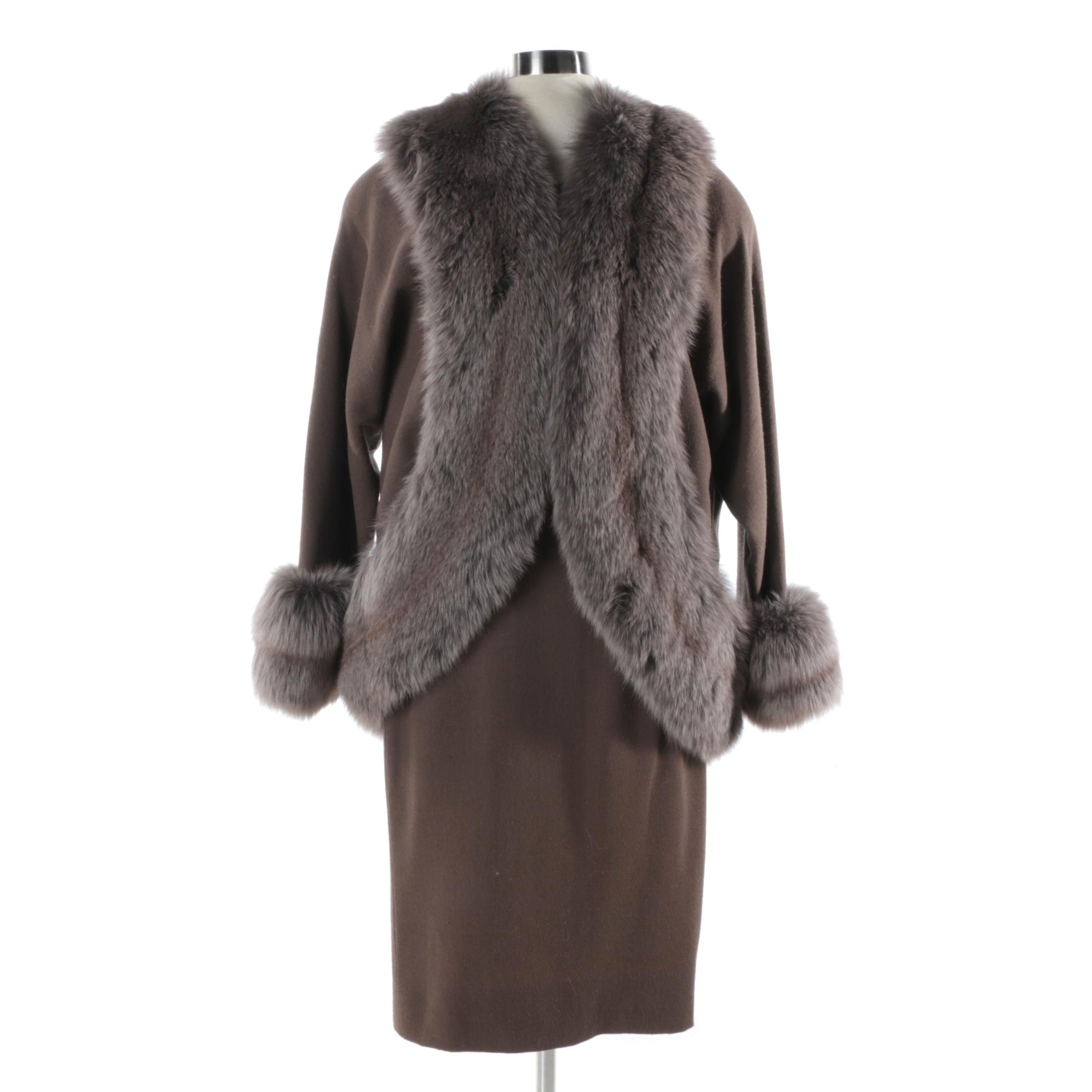 Circa 1960s Vintage Travilla Dress and Jacket with Fox Fur Trim
