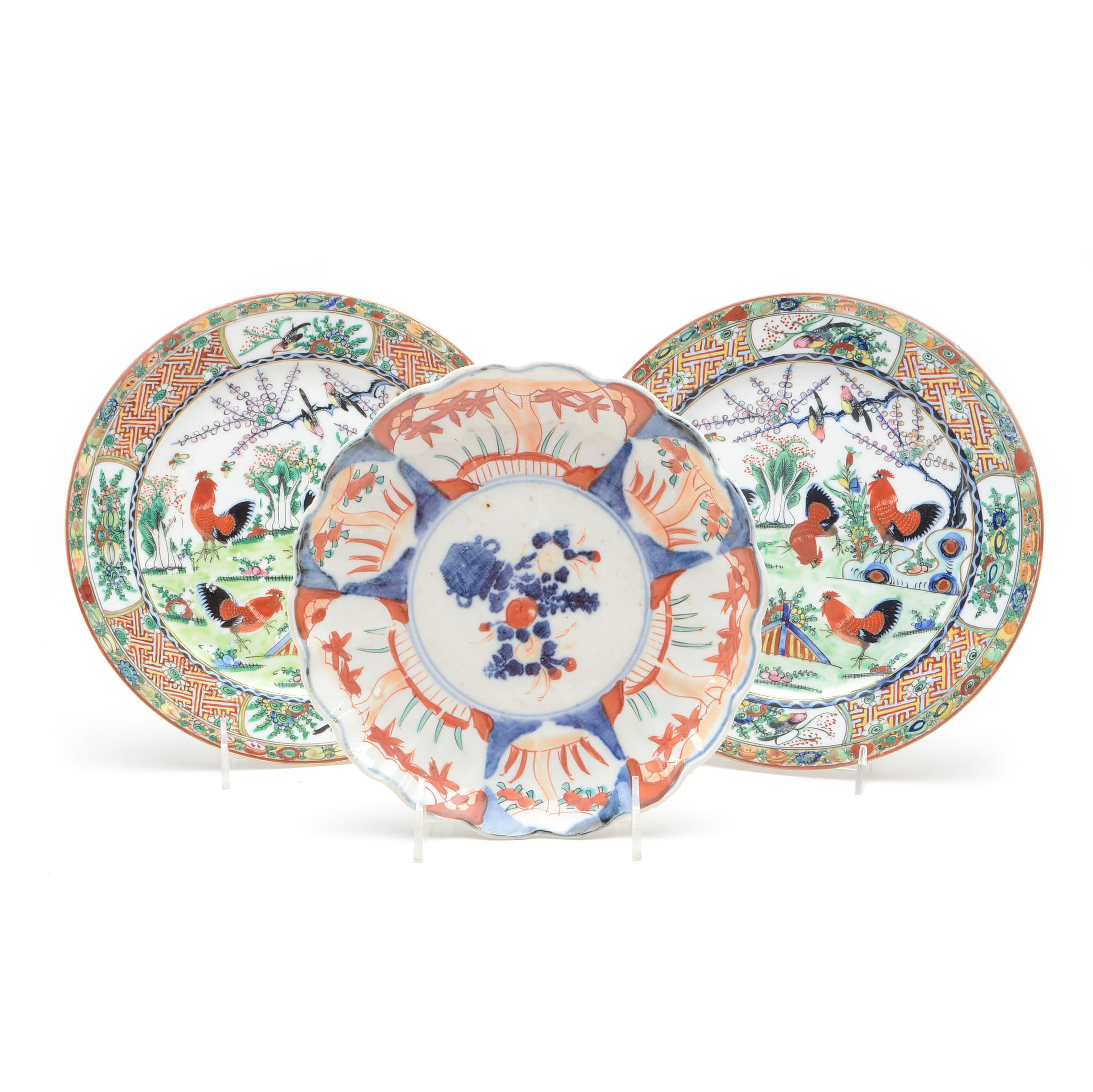 Decorative East Asian Polychrome Plates