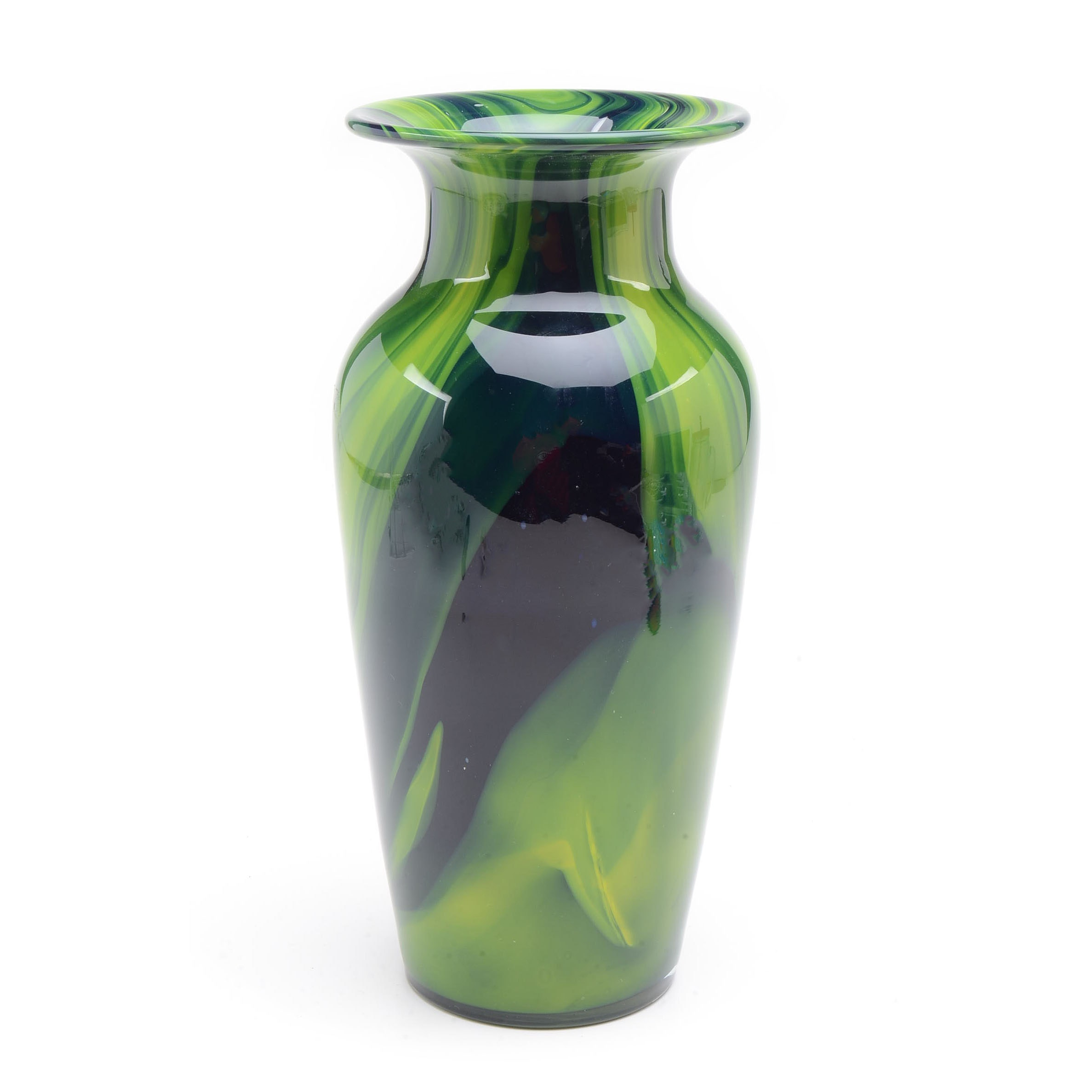 Green Swirl Art Glass Vase