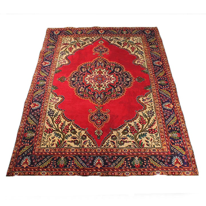 Hand-Knotted Persian Tabriz Rug