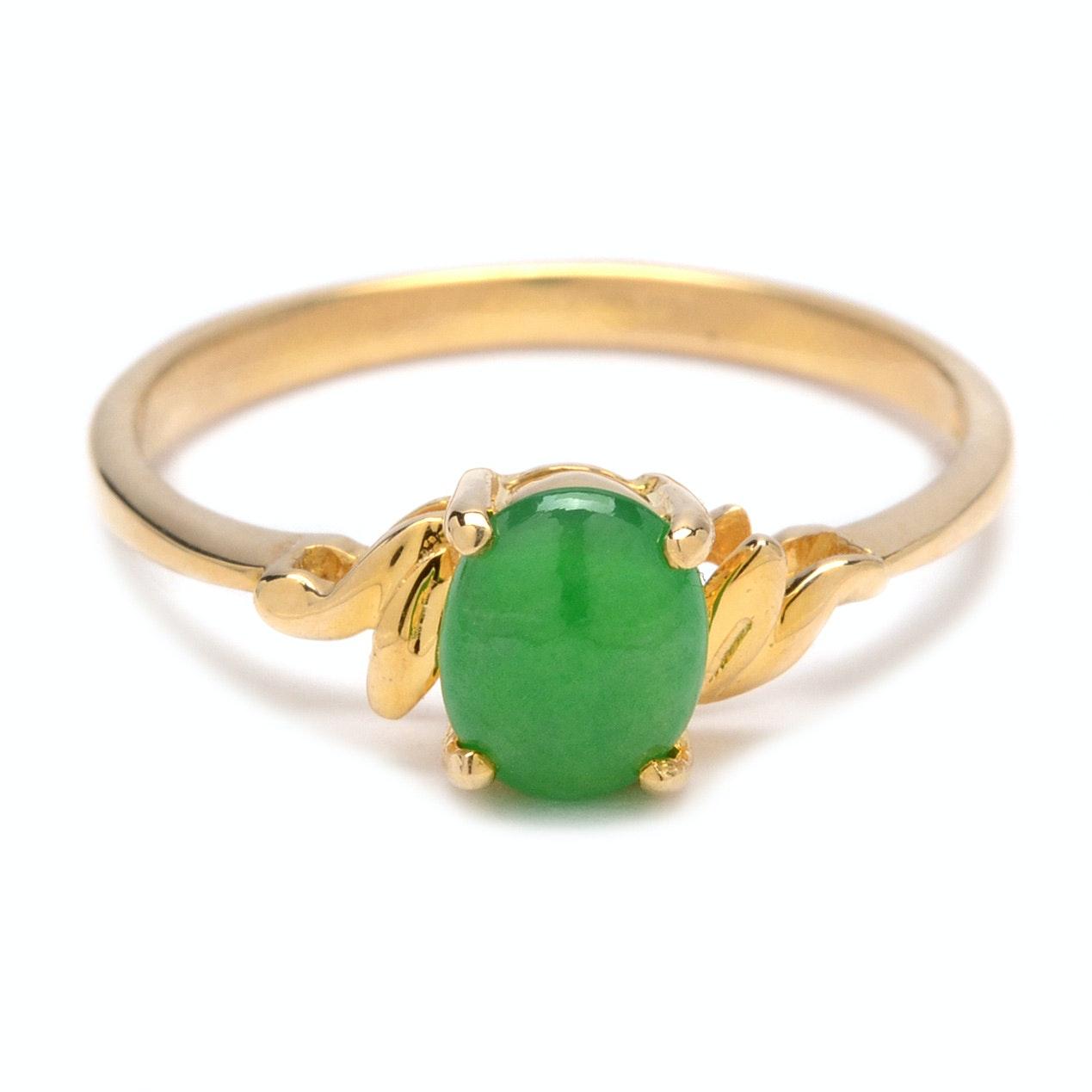 18K Yellow Gold Dyed Jadeite Ring