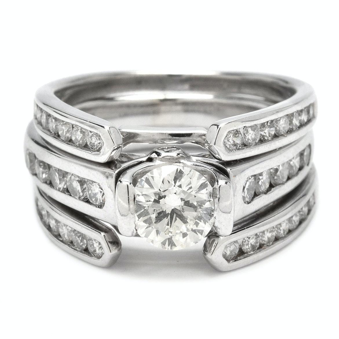14K White Gold 1.43 CTW Diamond Engagement Ring with Diamond Enhancer