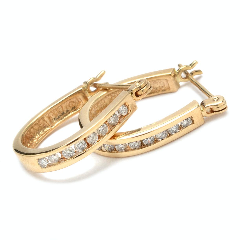 14K Yellow Gold Hoop Diamond Earrings