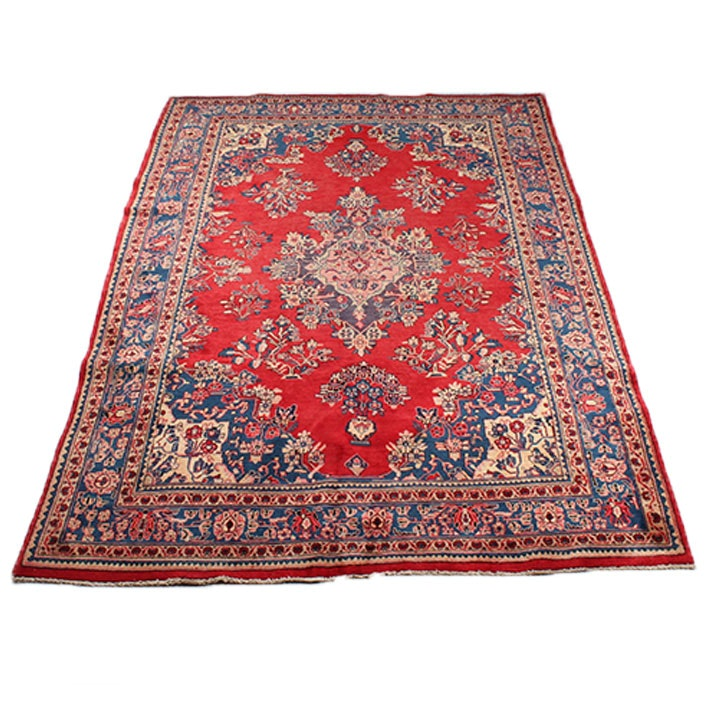 Vintage Hand-Knotted Persian Mohajeran Sarouk Rug