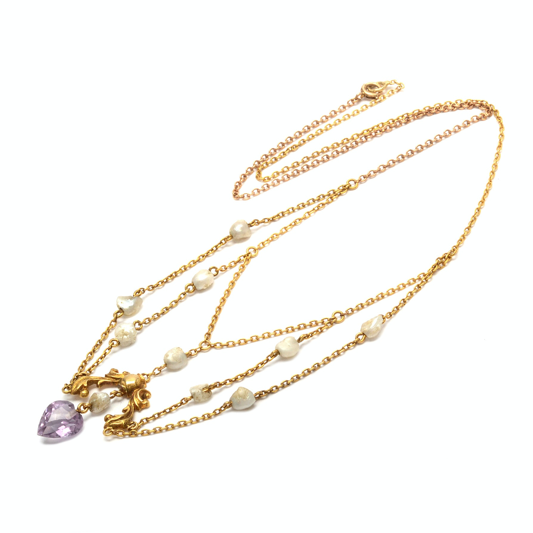 Victorian 14K Yellow Gold Amethyst and Pearl Lavalier Necklace