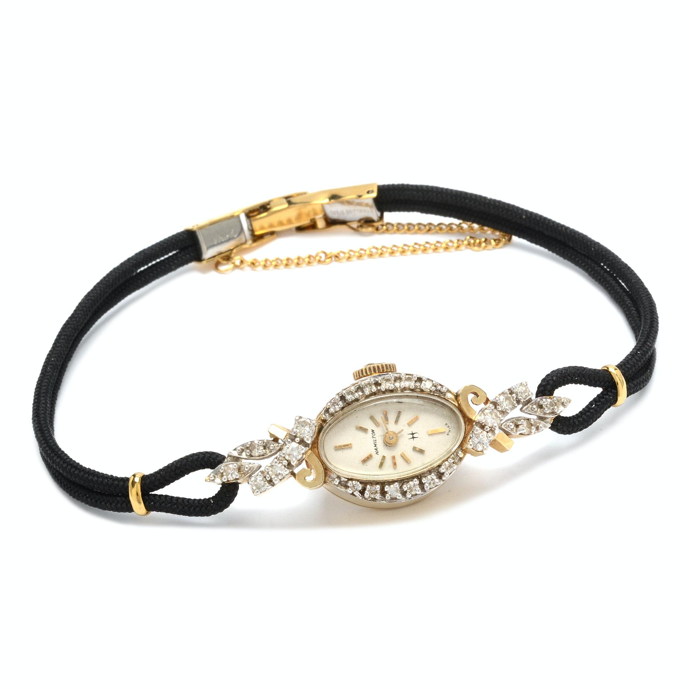 14K Yellow Gold and Diamond Hamilton Wristwatch