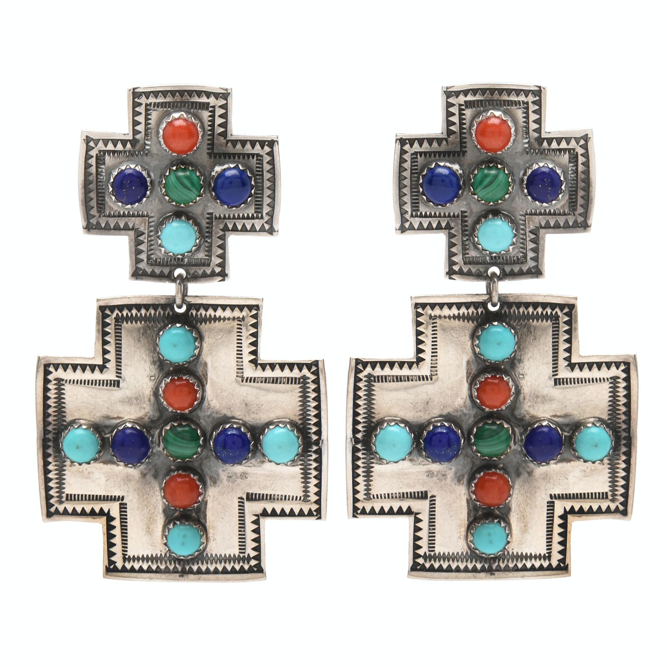Southwestern Style Sterling Silver Multiple Gemstone Clip-on Earrings