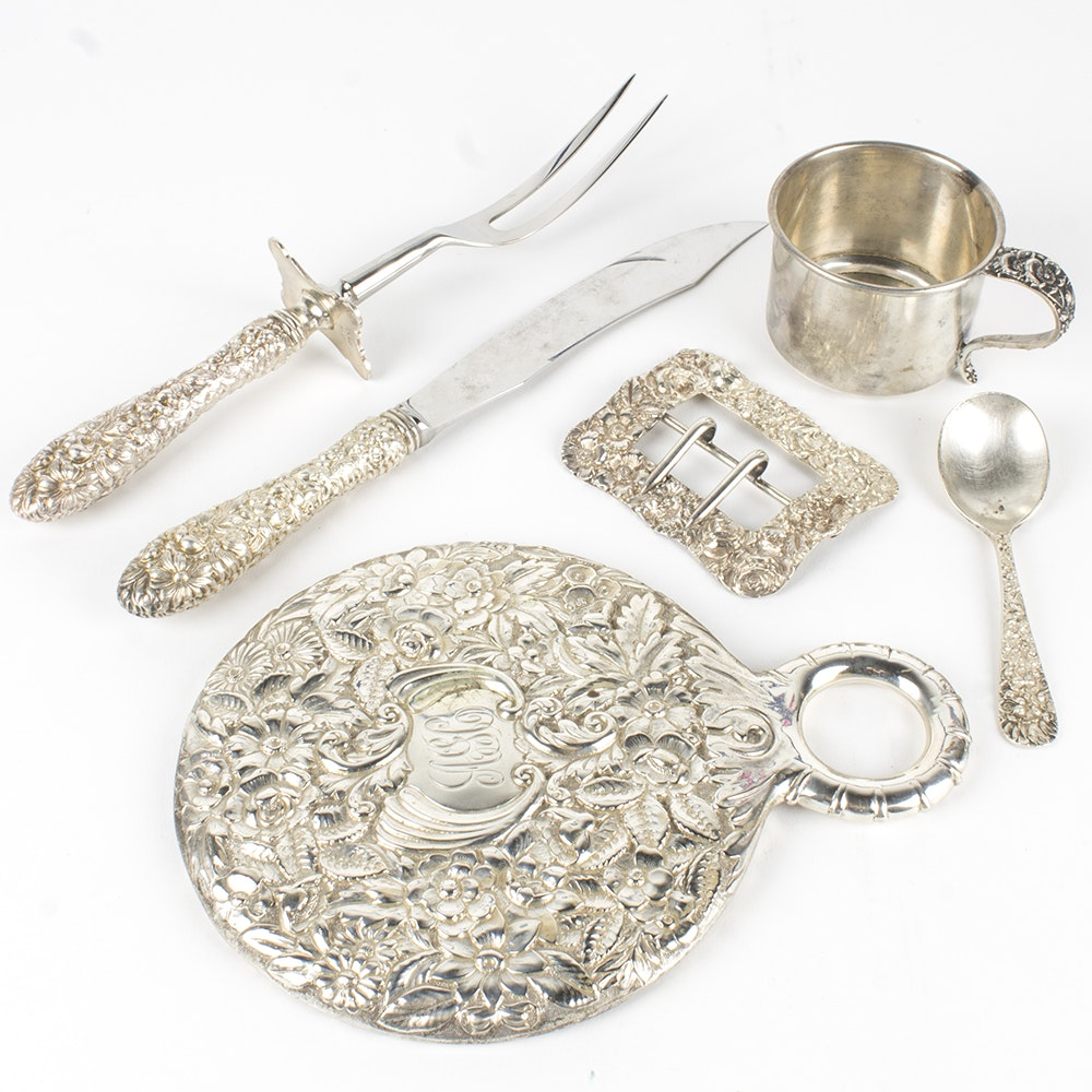 "Stieff ""Rose"" Sterling Handled Carving Set and Assorted Sterling Decor"