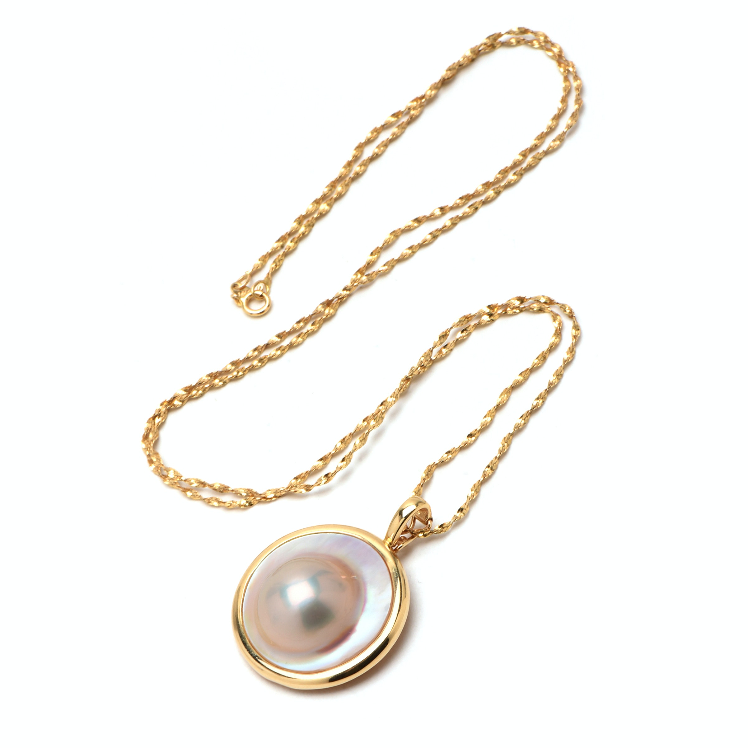 14K Yellow Gold Mabé Cultured Pearl Pendant Necklace