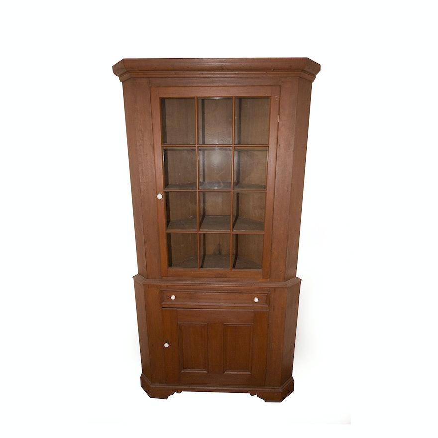 Antique Cherry Finish Corner Cabinet ... - Antique Cherry Finish Corner Cabinet : EBTH