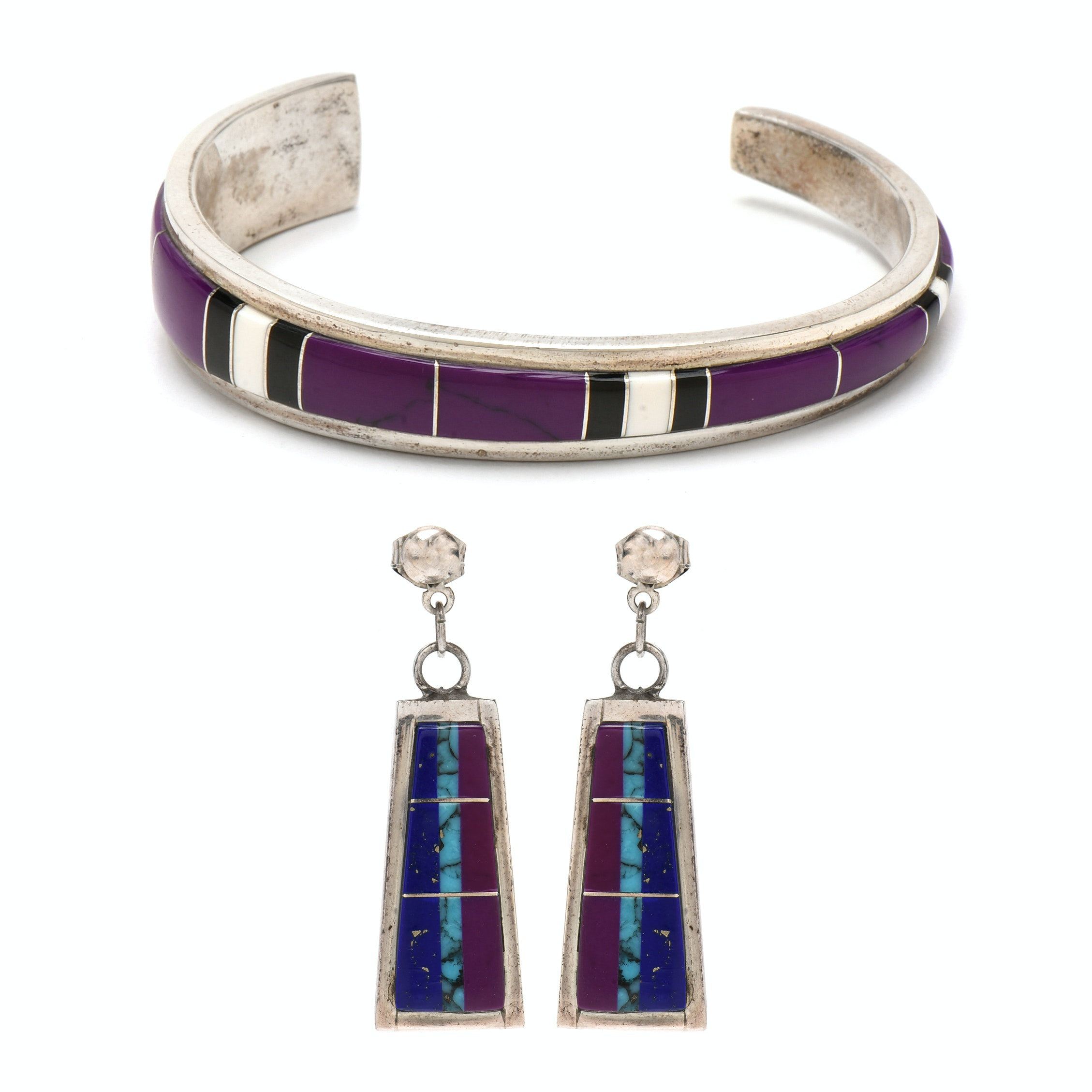 Sterling Silver Inlaid Imitation Gemstone Bracelet and Earrings
