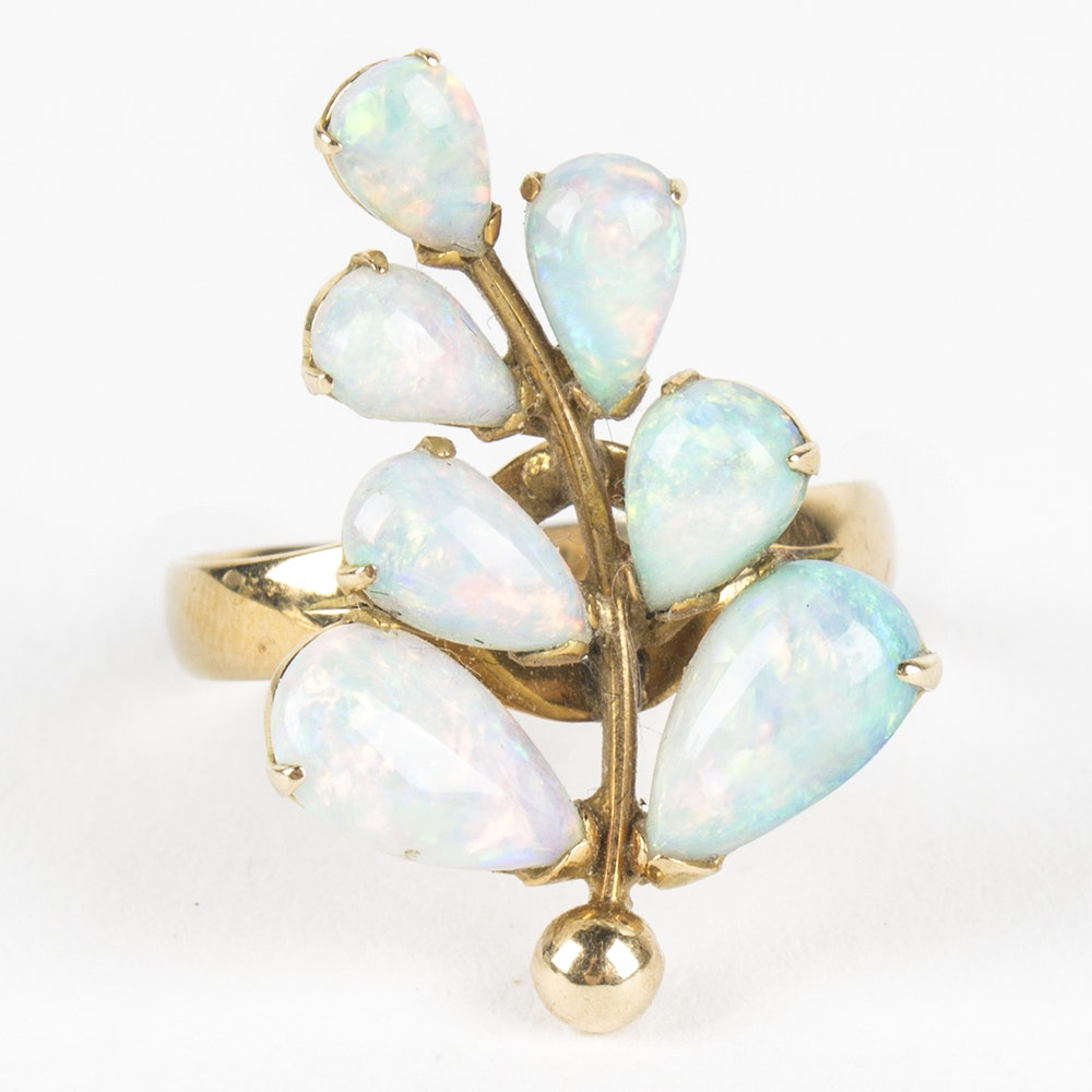 14K Yellow Gold Opal Leaf Ring