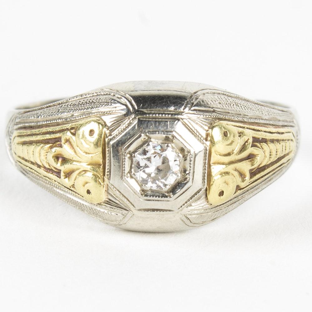 18K White and Yellow Gold Diamond Ring